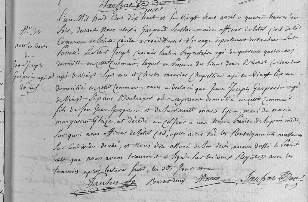 Acte de décès Jean Joseph Alexis GASPARIN 1818 Ste Cécile les Vignes